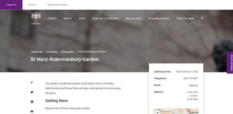 Saint Mary Aldermanbury Garden
